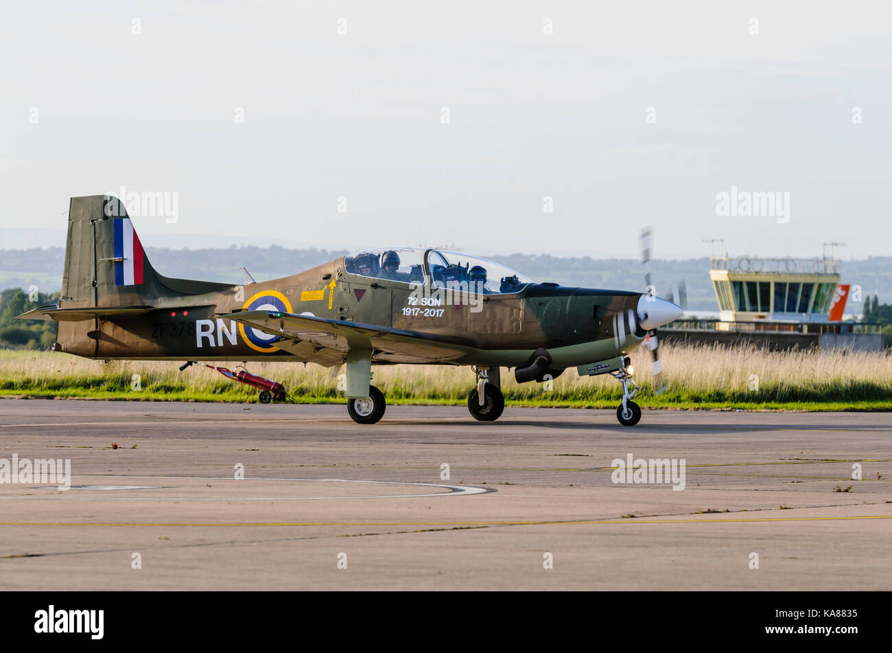 RAF Aldergrove, Northern Ireland. 25/09/2017 - Two Tucano training aircraft from 72 (R) Squadron fly into RAF Aldergrove - Stock Image