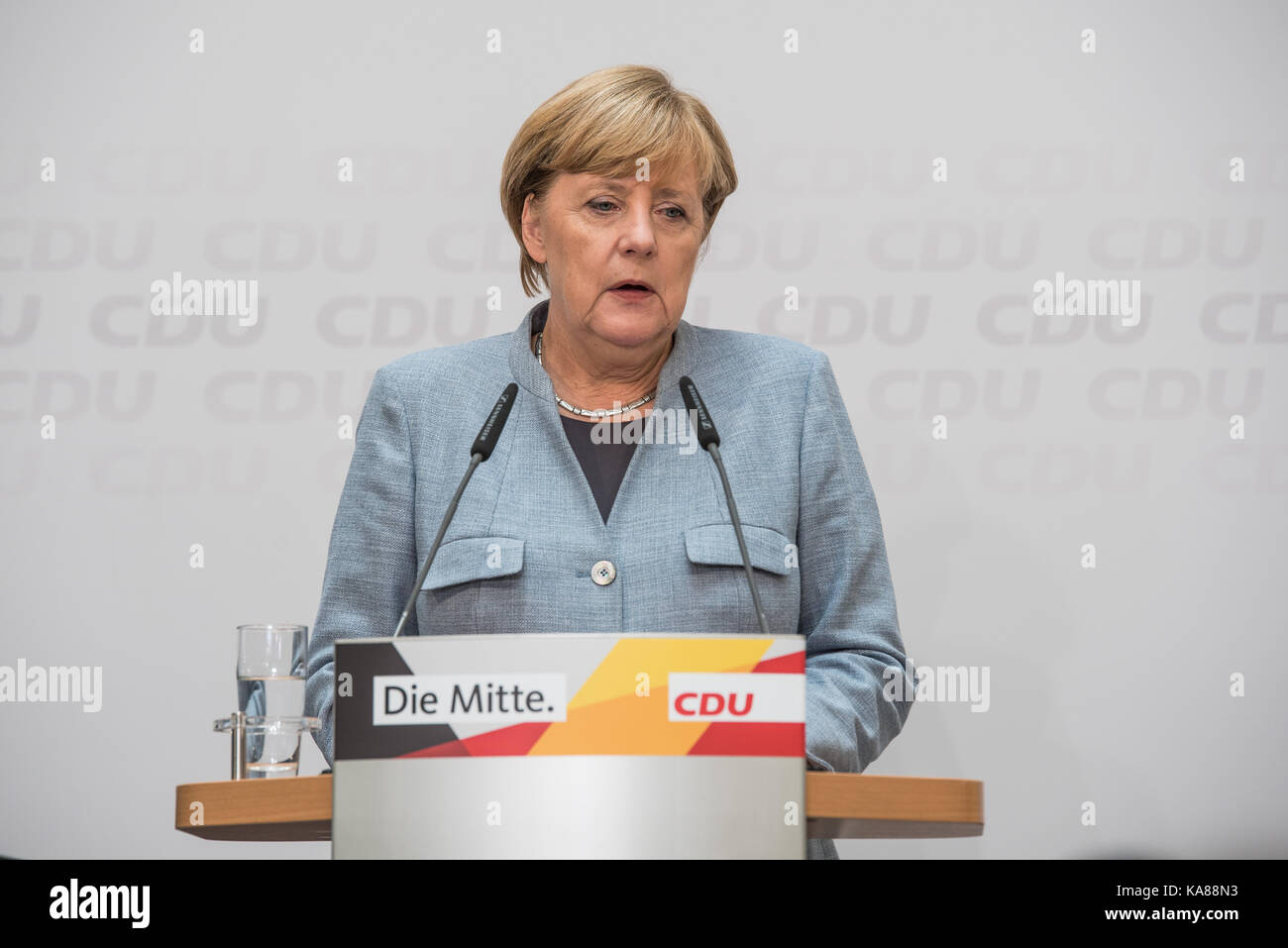 Angela Merkel, one day after the elections, on 25th September 2017 in the Adenauer House in Berlin - Stock Image
