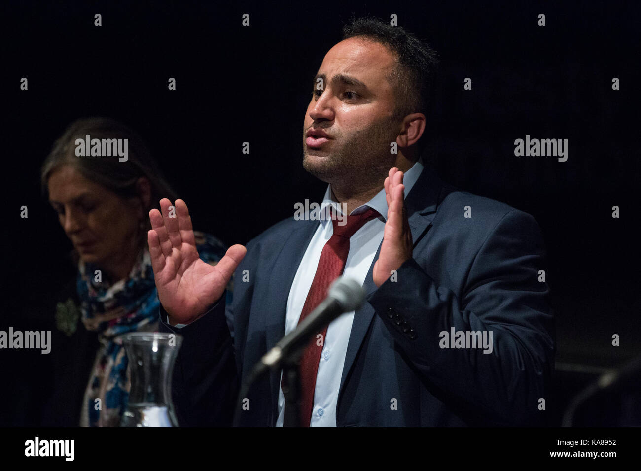 London, UK. 25th Sep, 2017. Issa Amro, a prominent Palestinian human rights defender and co-founder of the Hebron Stock Photo