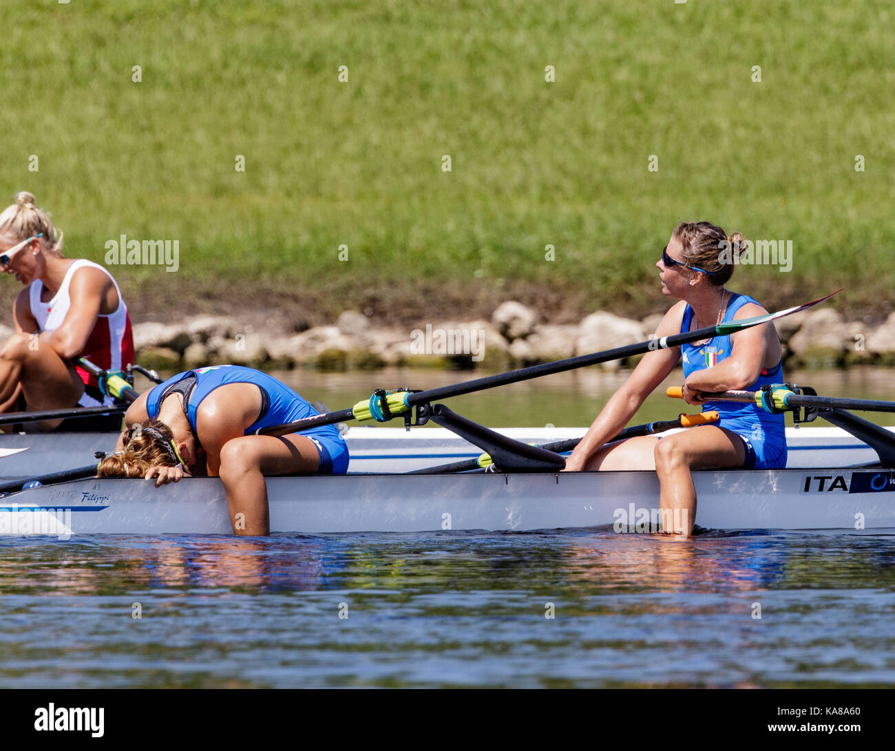 Sarasota-Bradenton, Florida, USA. 25th Sep, 2017. Kiri Tontodonati and Stefania Gobbi of team Italy during (W2x) Women's Double Sculls - Heat in the World Rowing Championships being held at Nathan Benderson Park in Sarasota-Bradenton, Florida. Del Mecum/CSM/Alamy Live News Stock Photo