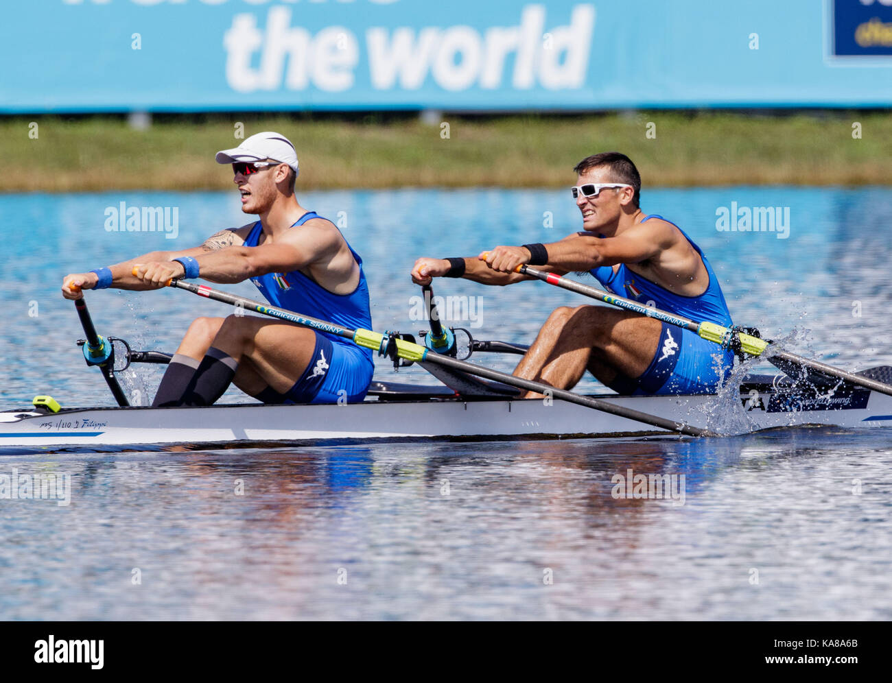 Sarasota-Bradenton, Florida, USA. 25th Sep, 2017. Filippo Mondelli and Luca Rambaldi of team Italy during (M2x) Men's Double Sculls - Heat in the World Rowing Championships being held at Nathan Benderson Park in Sarasota-Bradenton, Florida. Del Mecum/CSM/Alamy Live News Stock Photo
