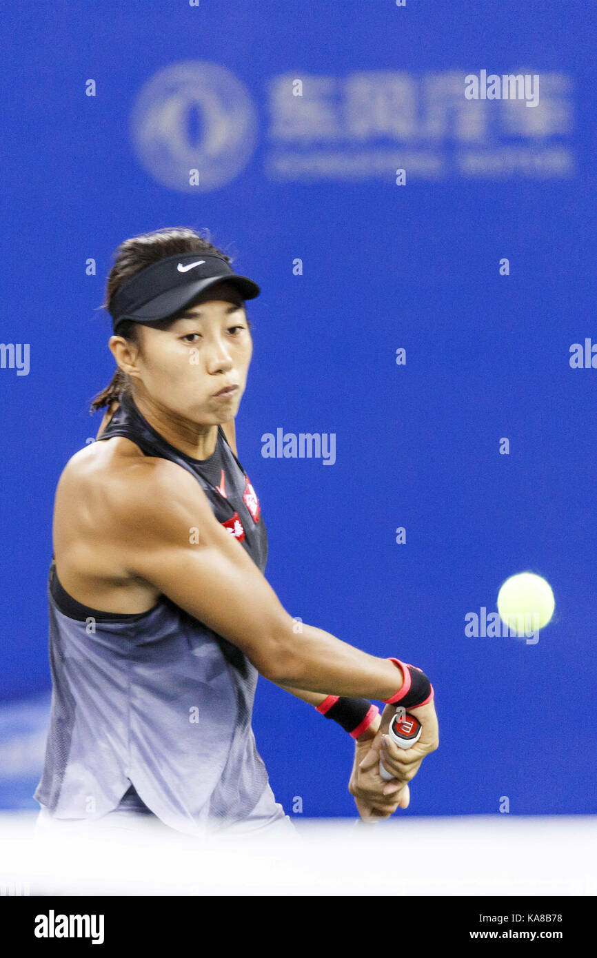 Wuhan, China. 25th Sep, 2017.  (EDITORIAL USE ONLY. CHINA OUT).Chinese tennis player Zhang Shuai defeats Croatian Stock Photo