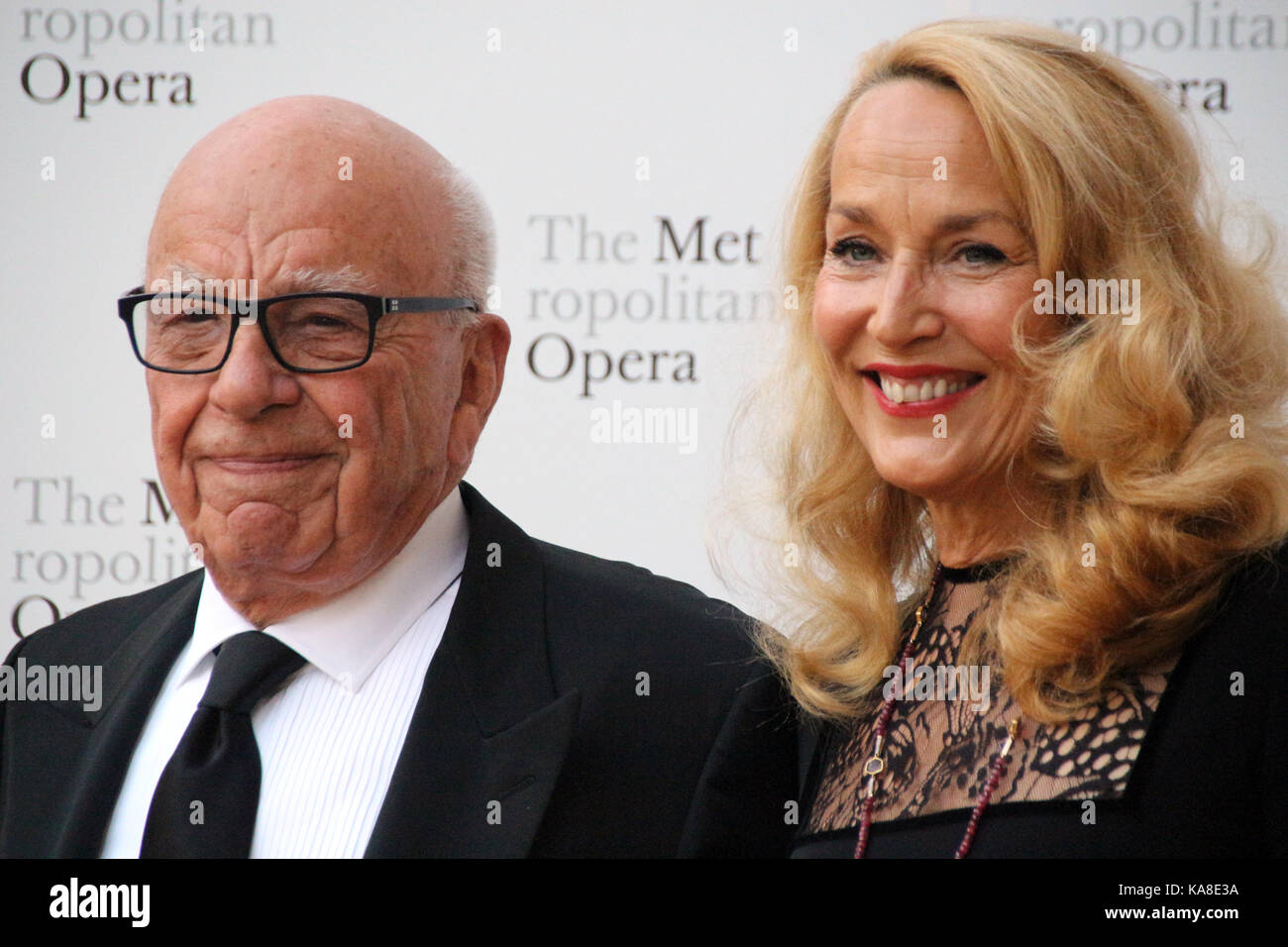 New York, US. 25th Sep, 2017. Media mogul Rupert Murdoch and former model Jerry Hall attend the season opening of - Stock Image