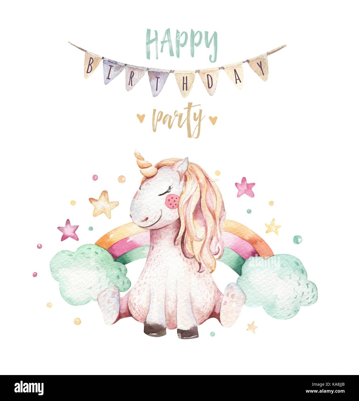 Isolated cute watercolor unicorn clipart  Nursery unicorns