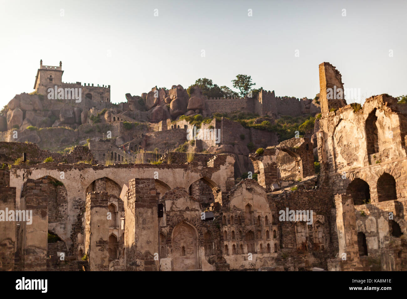Golconda, Gol konda, is a citadel and fort in Southern India - Stock Image