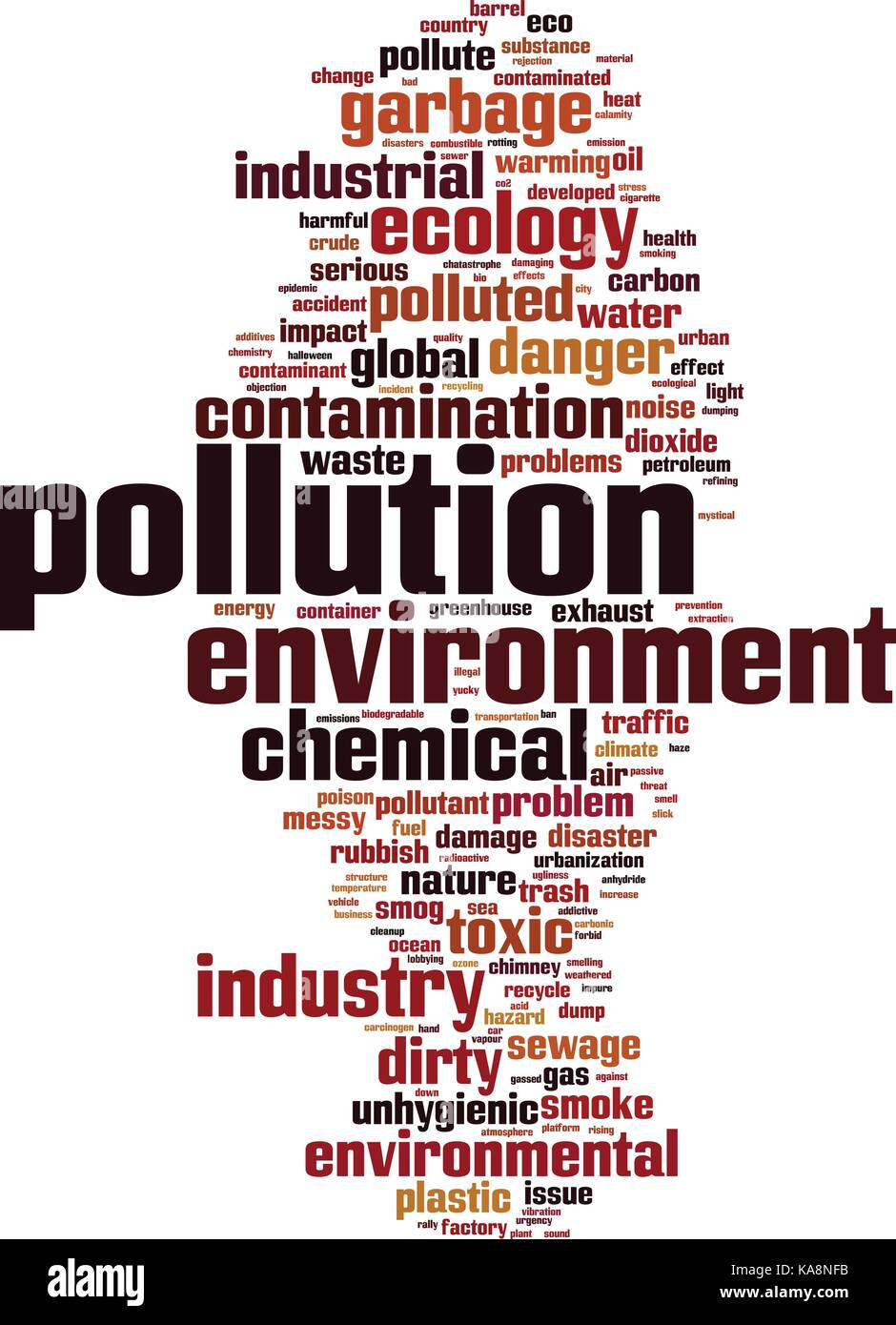 Pollution word cloud concept. Vector illustration Stock Vector