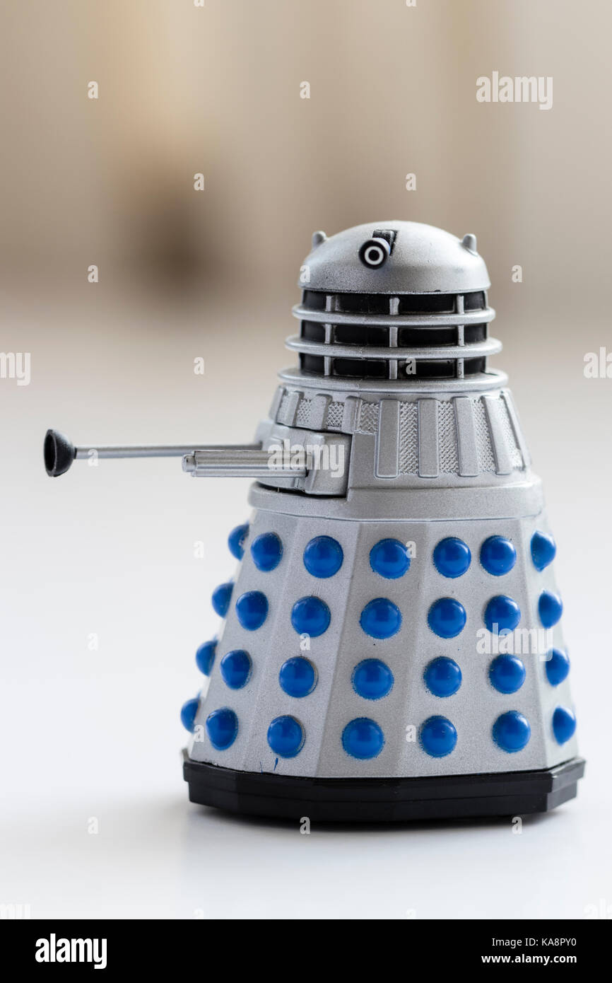 England. Die cast metal Dalek figure from the TV show Dr Who. Grey dalek. Side view. - Stock Image