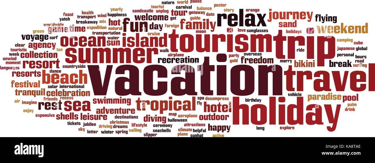 Vacation word cloud concept. Vector illustration - Stock Vector