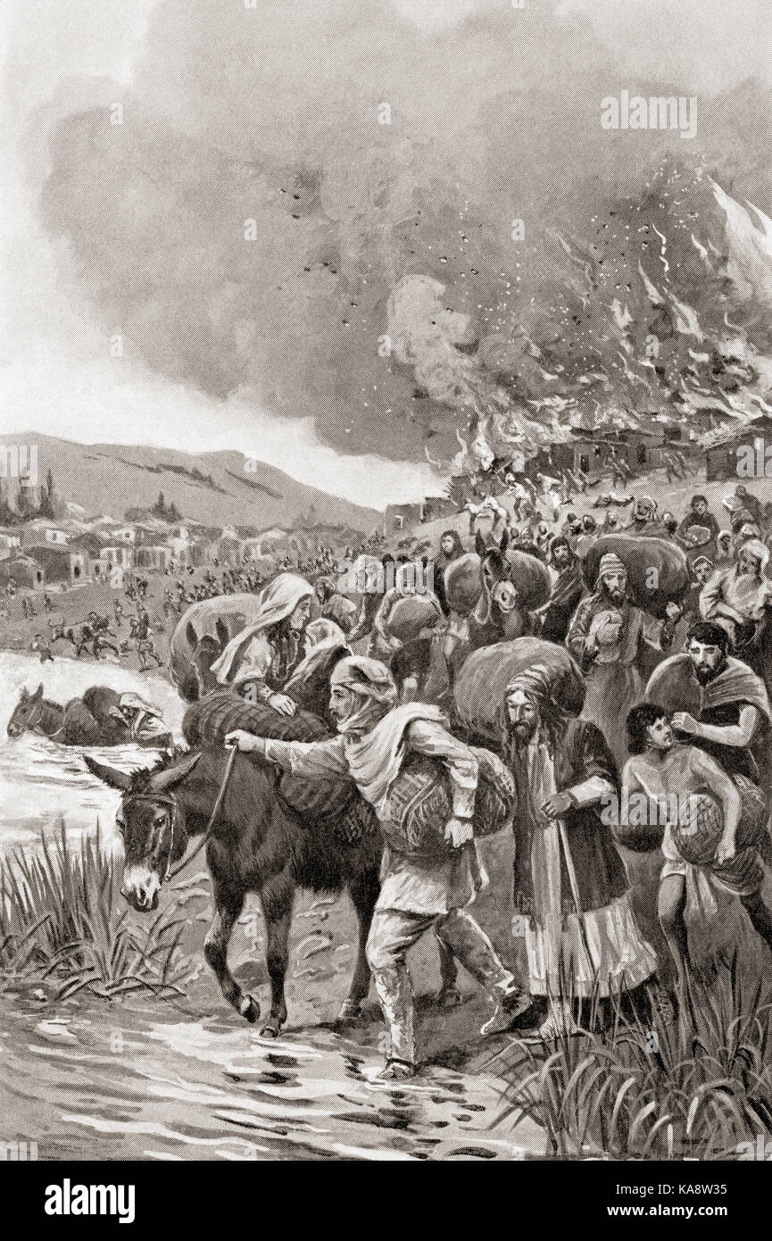 The burning of Sardis during the Ionian Revolt of 498 BC.  From Hutchinson's History of the Nations, published - Stock Image