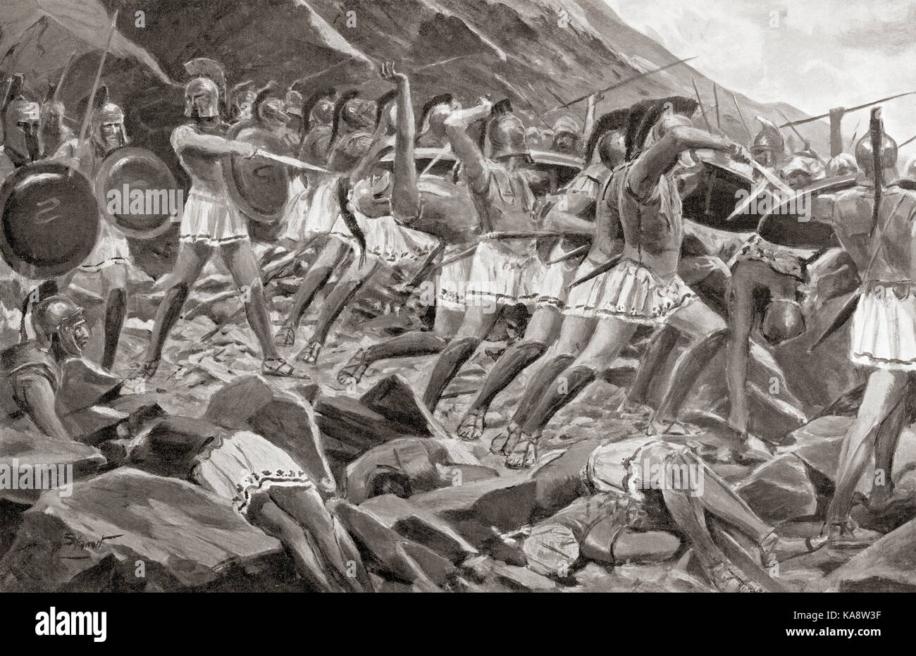 Leonidas, King of Sparta, and the Three Hundred at the Battle of Thermopylae, 480 BC.  After the painting by Allan Stock Photo