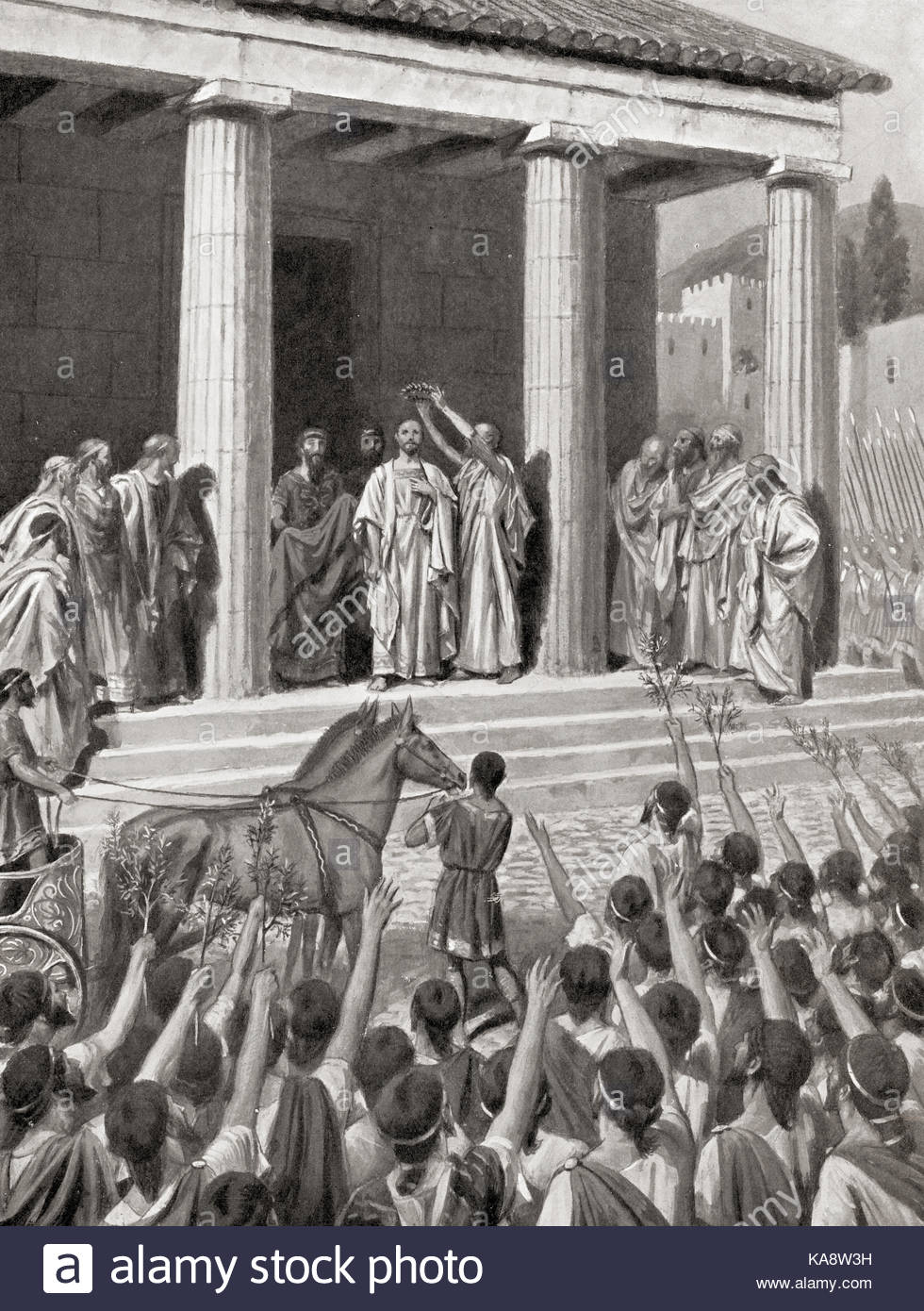 Themistocles honoured at Sparta and declared a hero after the Battle of Salamis, c.480 BC. Themistocles, c. 524–459 - Stock Image