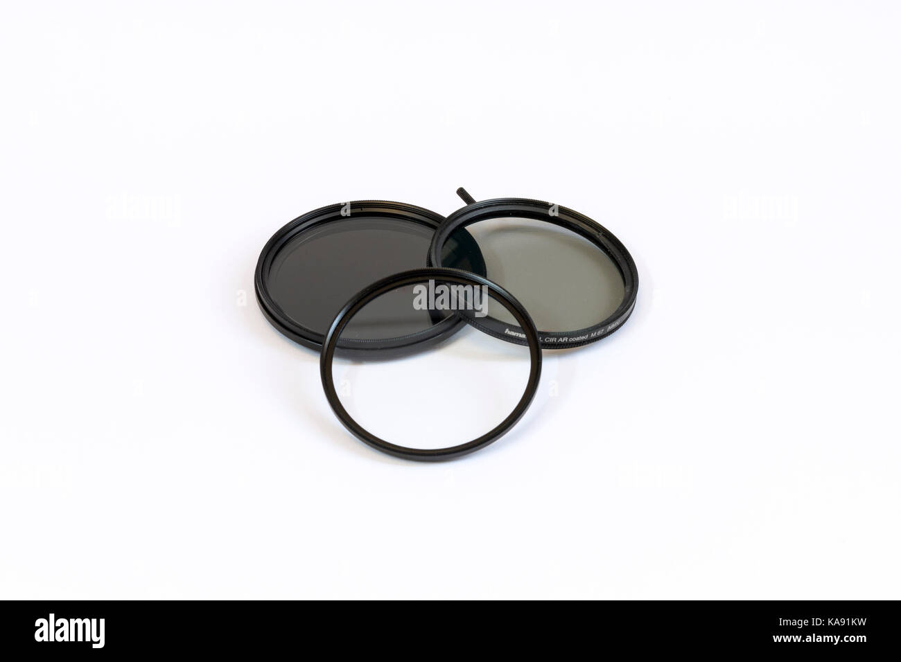 Camera lens filters - Ultra-Violet Filter (UV), Circular Polarizer Filter (CP), Neutral Density Filter (ND) - Stock Image