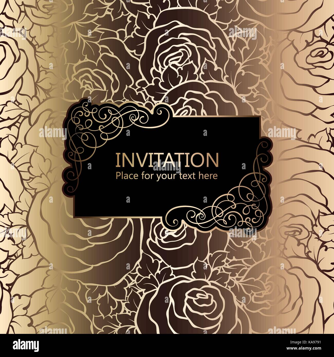 Abstract Background With Roses Luxury Black And Gold Vintage Frame Victorian Banner Damask