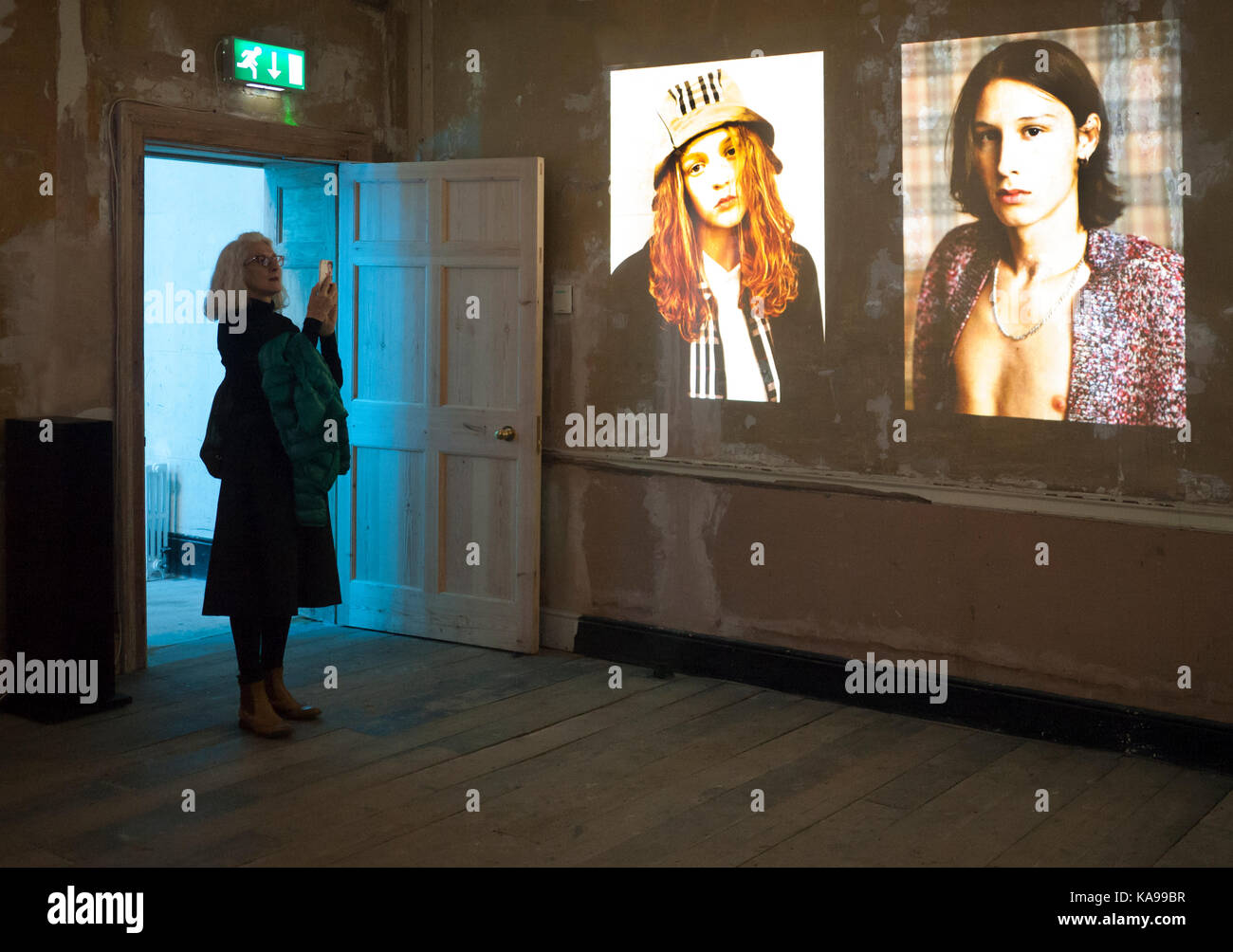 Here we Are photo exhibition in `Old Sessions House Clerkenwell London EC1 - Stock Image