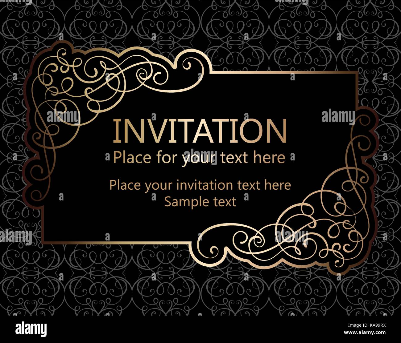 Vintage baroque gold invitation card vector antique frame with vintage baroque gold invitation card vector antique frame with place for text on black background with stylish ornate pattern calligraphic swirls and stopboris