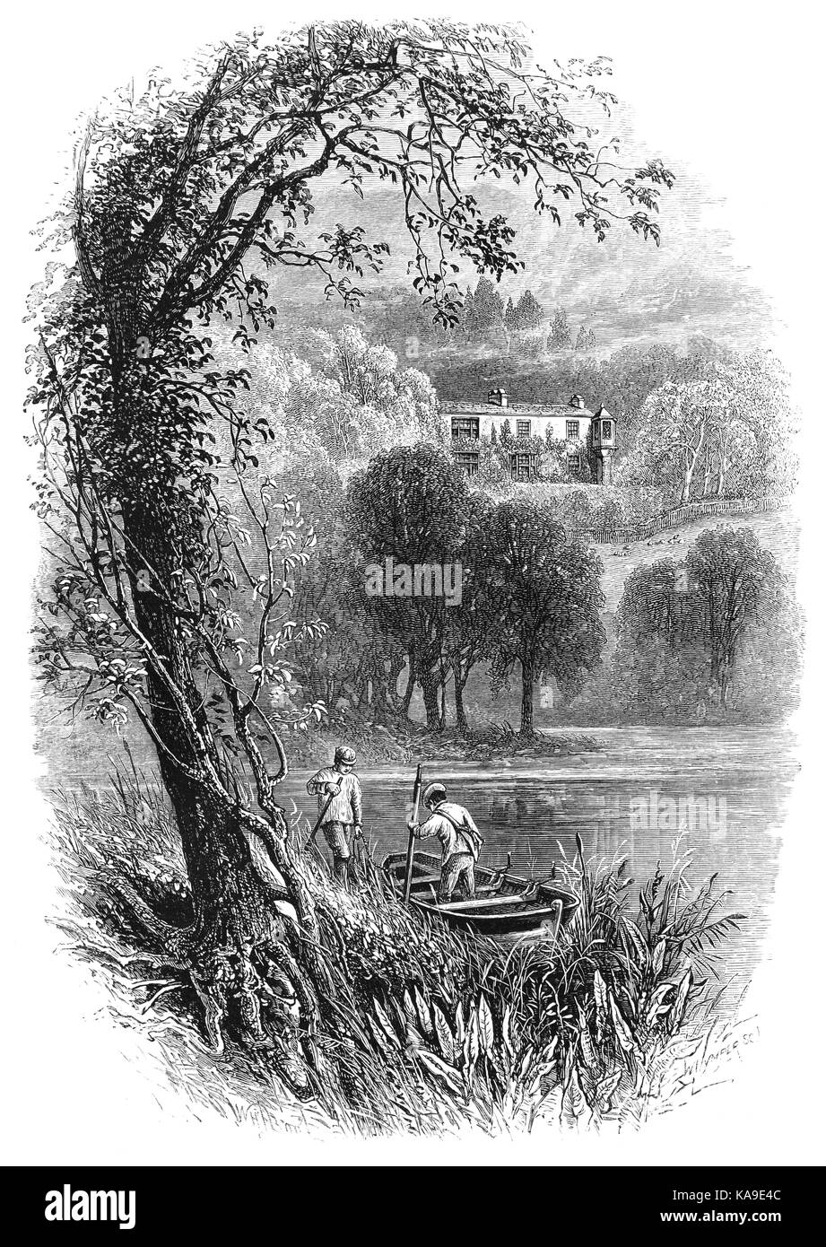 1870: Boatmen in Coniston Water, with Brantwood, the house of John Ruskin, the leading English art critic of the - Stock Image
