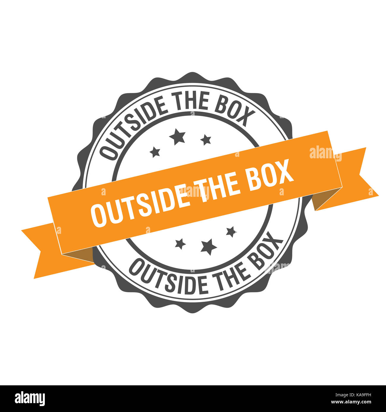 Outside the box stamp illustration - Stock Image