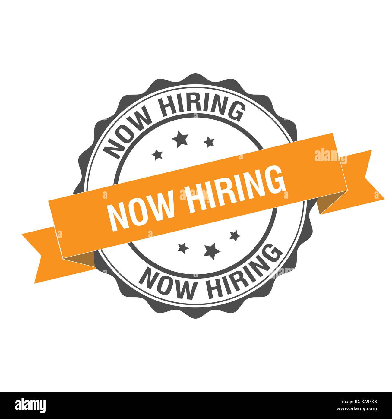 Now hiring stamp illustration - Stock Image