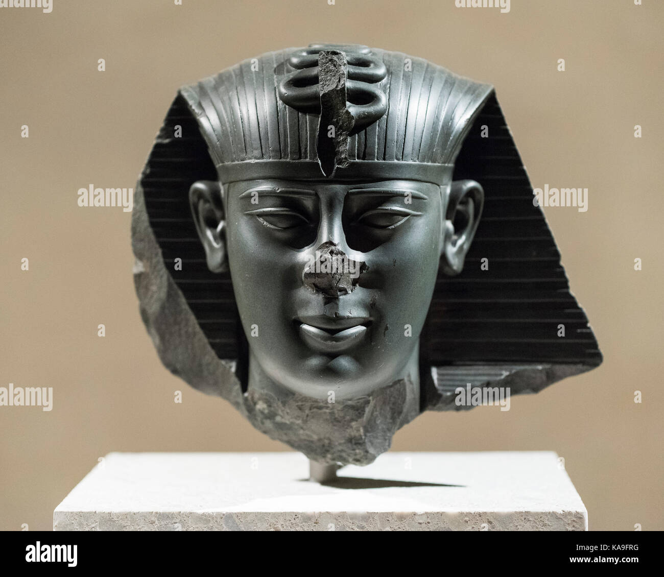 Berlin. Germany. Head of a statue of King Amasis ancient Egyptian pharaoh (Reign: 570-526 BC), Neues Museum. Late Stock Photo