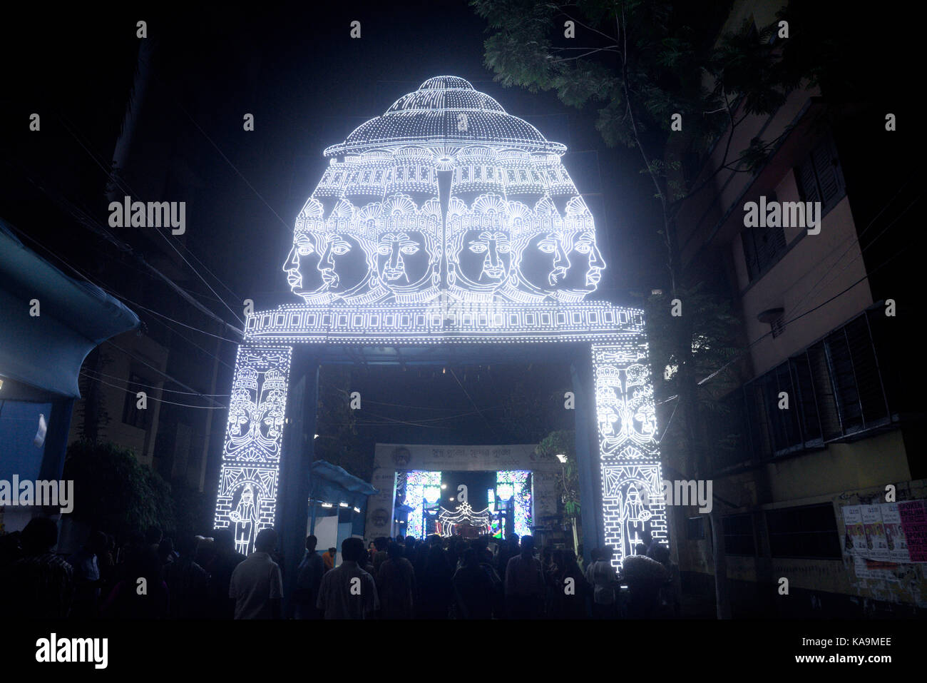 Kolkata india 25th sep 2017 view of light decoration in various view of light decoration in various pandals or temporary stage during the durga puja festival on september 25 2017 in kolkata credit saikat paulpacific altavistaventures Image collections