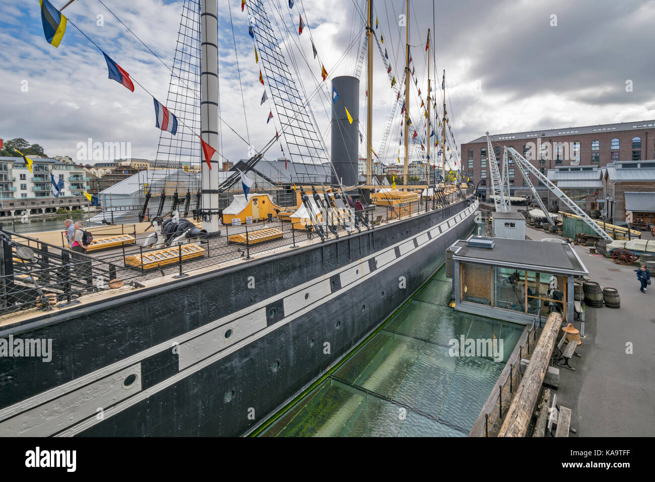 BRISTOL ENGLAND CITY CENTRE AND HARBOUR ON THE RIVER AVON AT HOTWELLS DOCKSIDE  THE WESTERN DOCKYARD BRUNELS SS - Stock Image