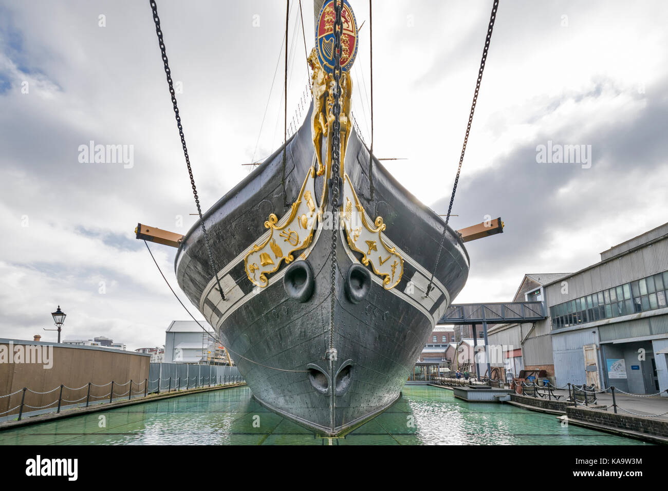 BRISTOL ENGLAND THE CITY CENTRE AND HARBOUR ON THE RIVER AVON AT HOTWELLS DOCKSIDE  THE WESTERN DOCKYARD THE PROW - Stock Image