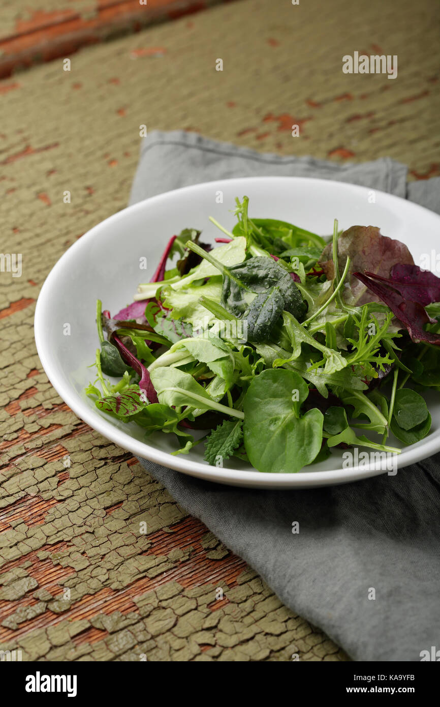Fresh green vegetables in bowl, food closeup Stock Photo