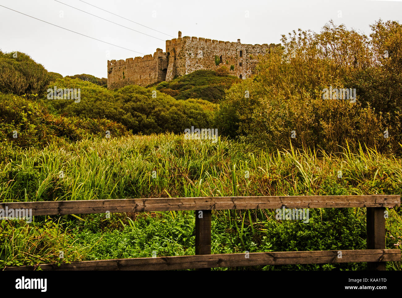 Manorbier Castle, Pembrokeshire, Wales. UK - Stock Image