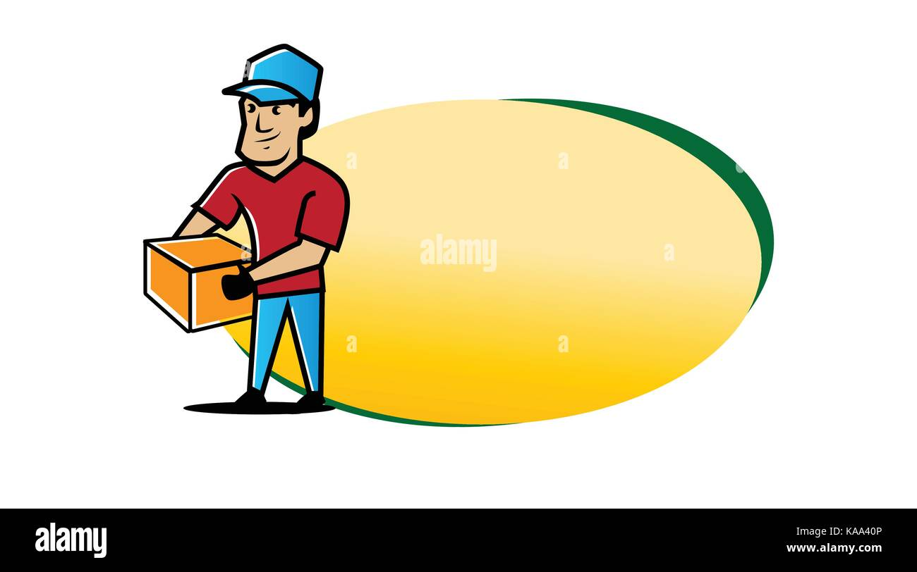 removal company logo, junk removal illustration, man holds box illustration with blank oval, removal company banner, - Stock Image