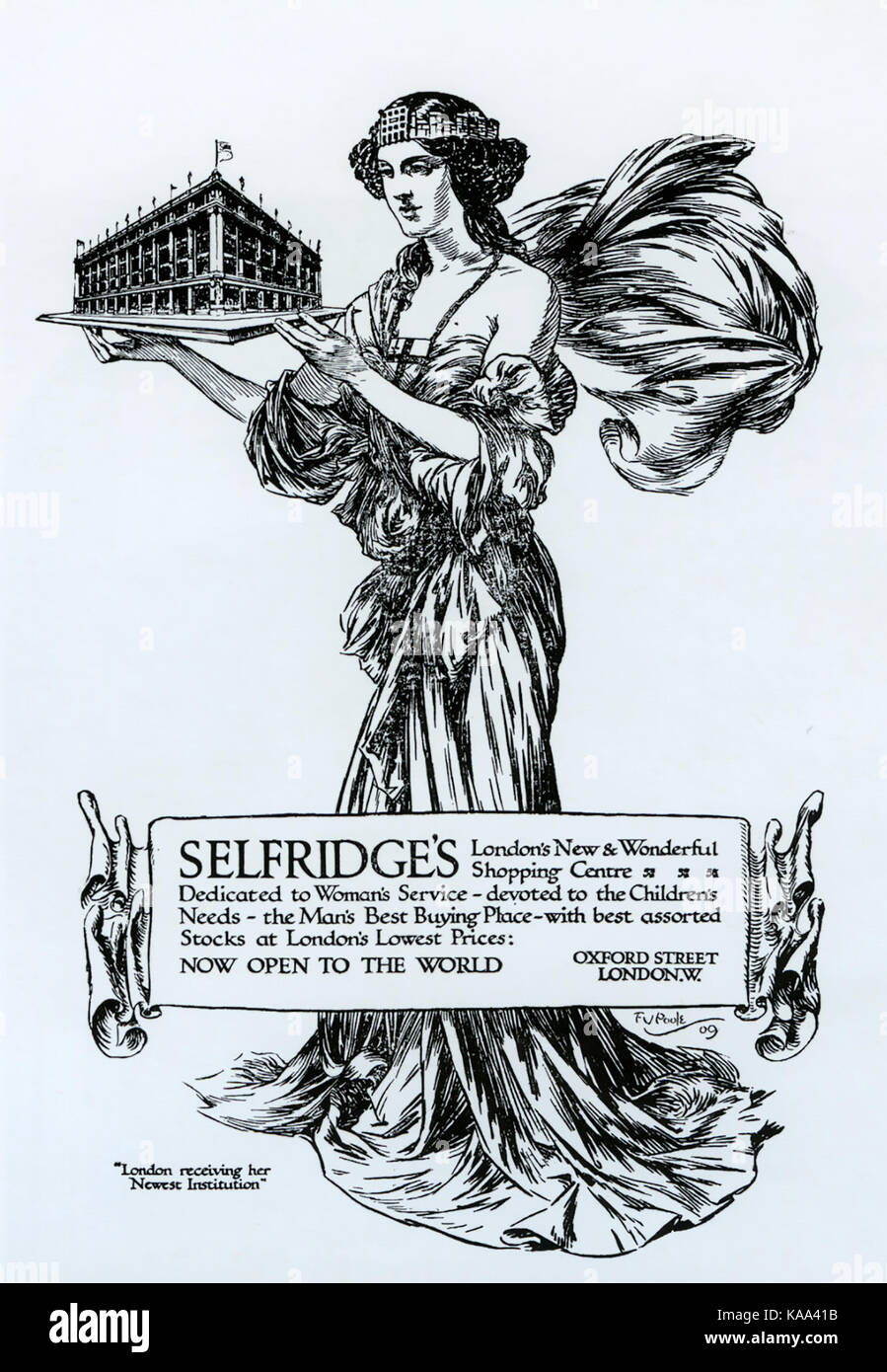 SELFRIDGES A 1909 advert to promote the opening of the store on Oxford Street, London. - Stock Image