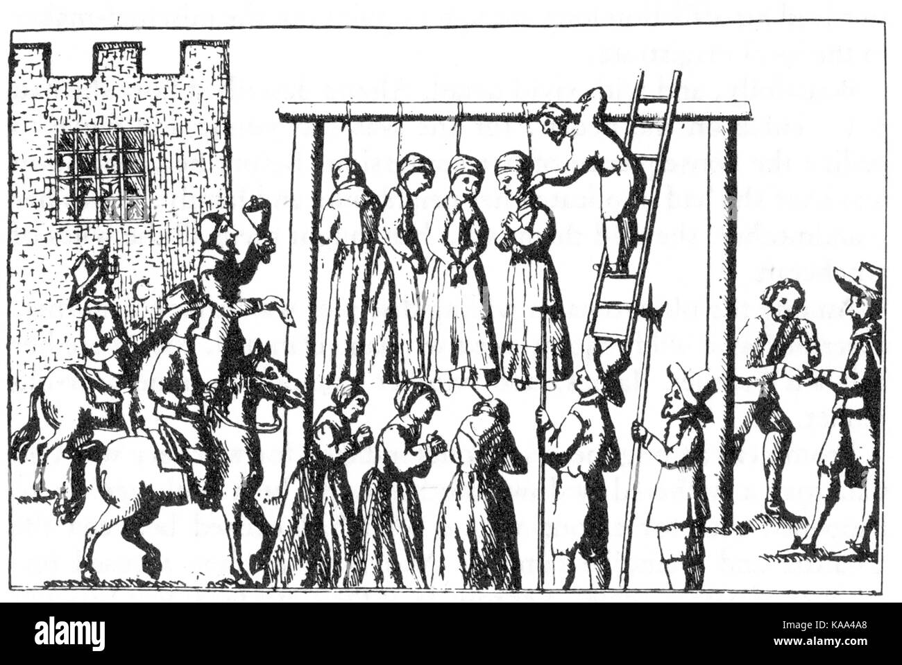 HANGING WITCHES from George Macenzie's 1678 book 'Law and Customs in Scotland in Matters Criminal' published - Stock Image