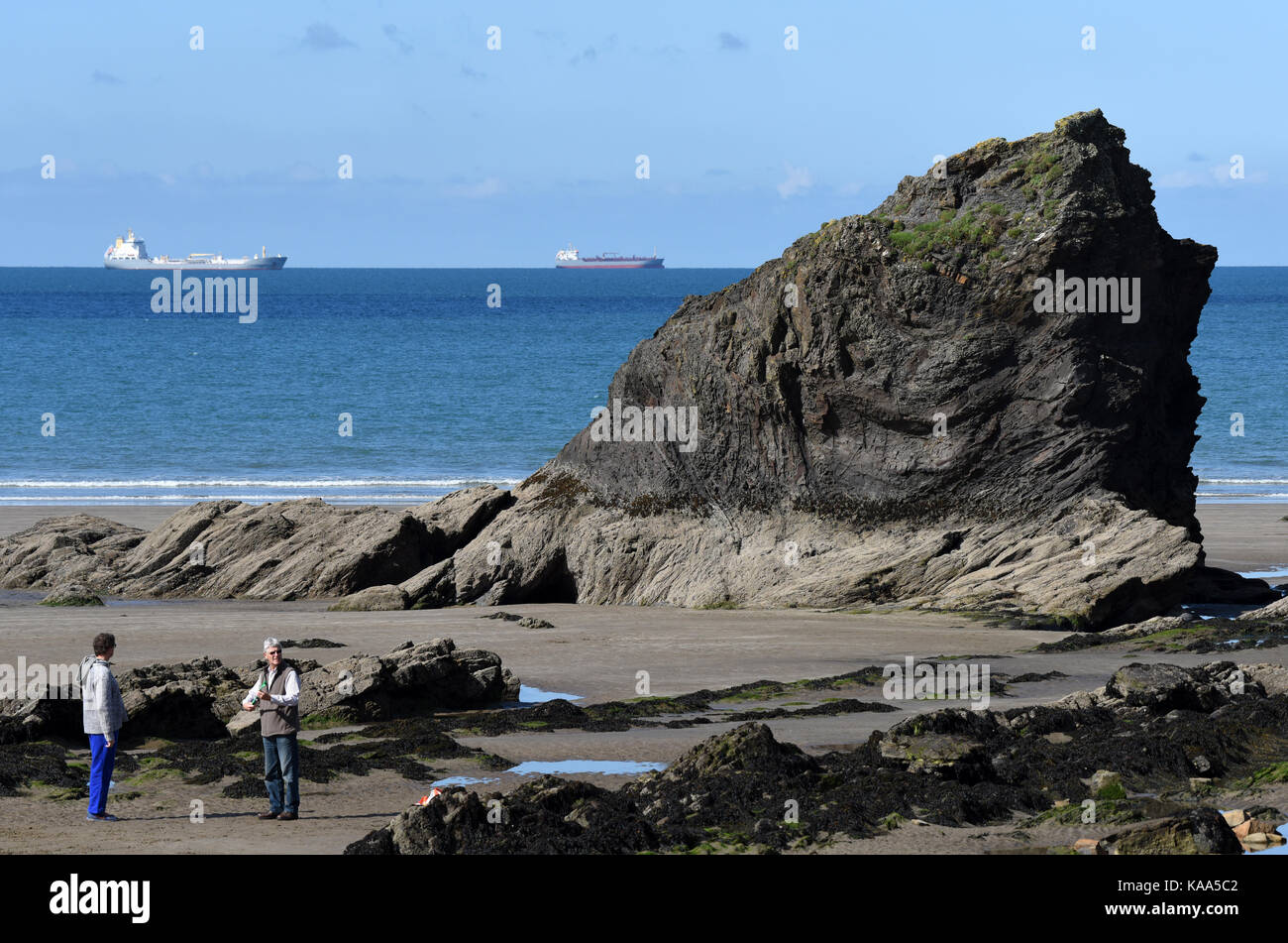 Broad Haven beach in Pembrokeshire in West Wales. - Stock Image