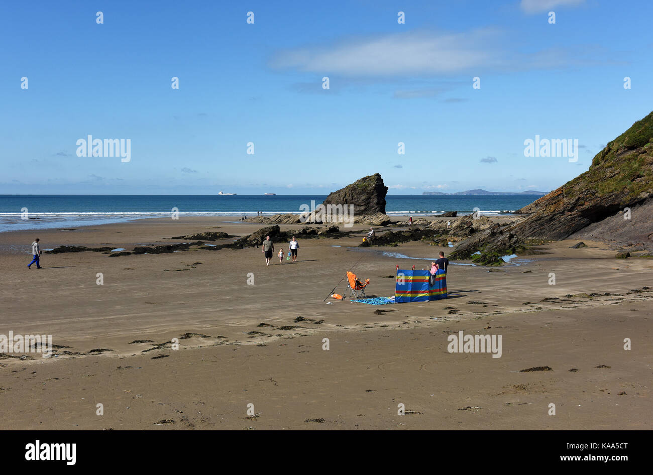 Broad Haven beach in Pembrokeshire in West Wales. Stock Photo