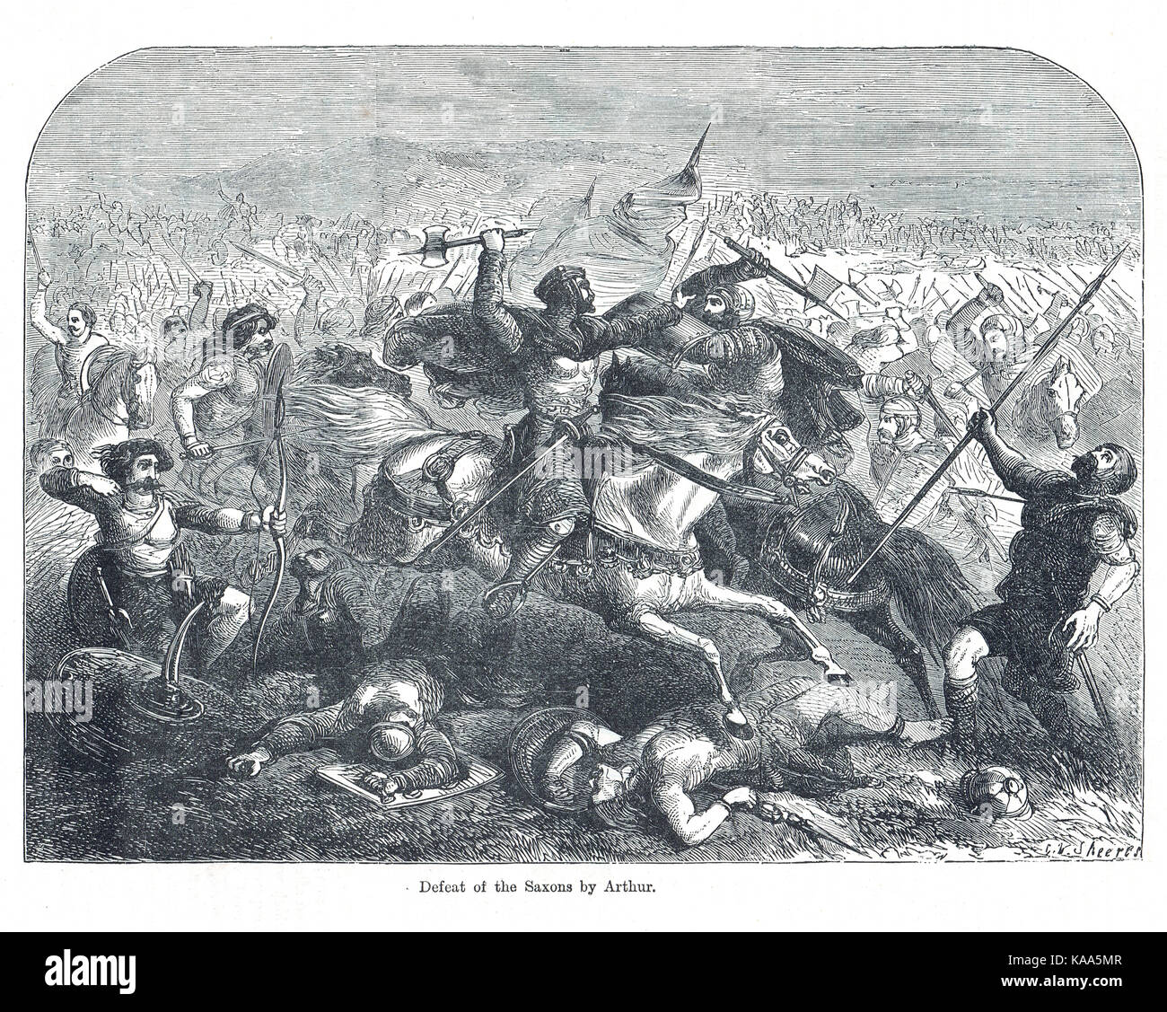 The defeat of the Saxons, led by king Arthur, Battle of Badon - Stock Image