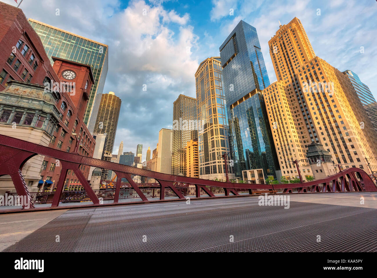 Chicago downtown at sunrise. - Stock Image