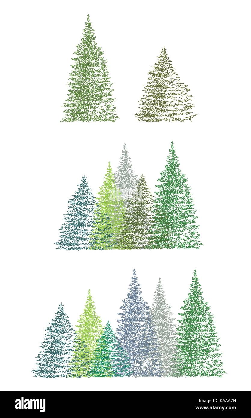 Set Of Colorful Hand Drawing Christmas Tree Single And Group