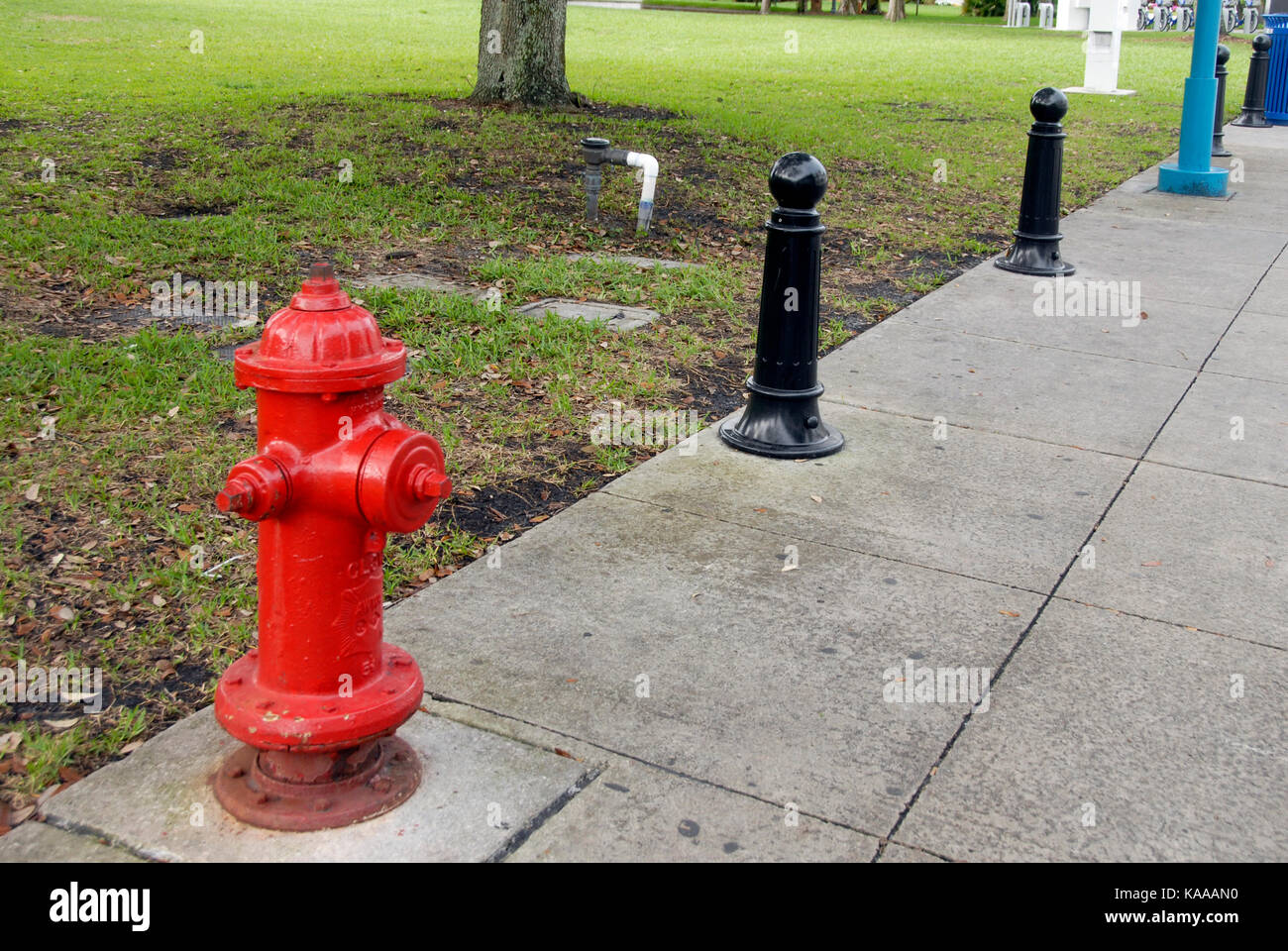 Fire hydrant and other street furniture, Fort Lauderdale, Florida, USA - Stock Image