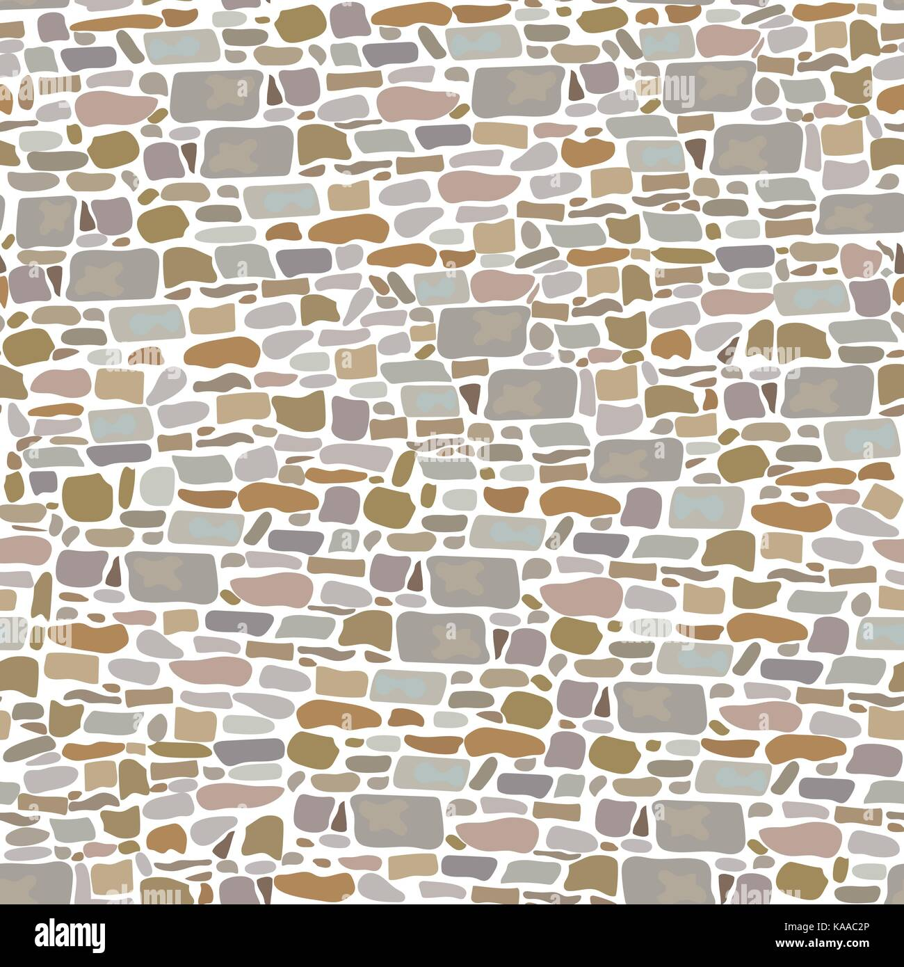 Stone Block Wall, Seamless pattern. Background made of wild bricks. grey, red, sand, yellow, brown, - Stock Vector