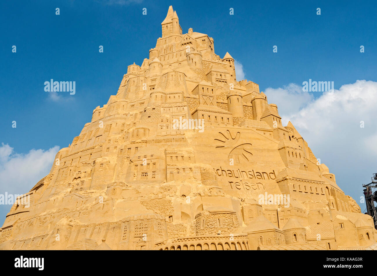 Record breaking sand castle which gained an entry in the Guiness Book of Records in Landschafts Park Duisburg Nord, - Stock Image
