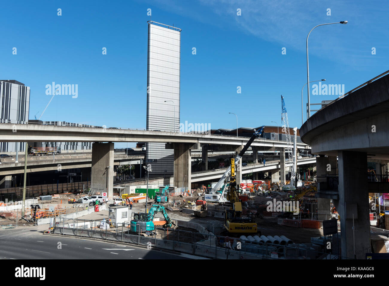 Redevelopment at the end of Cockle Bay next to Darling Harbour in Sydney, New South Wales, Australia - Stock Image