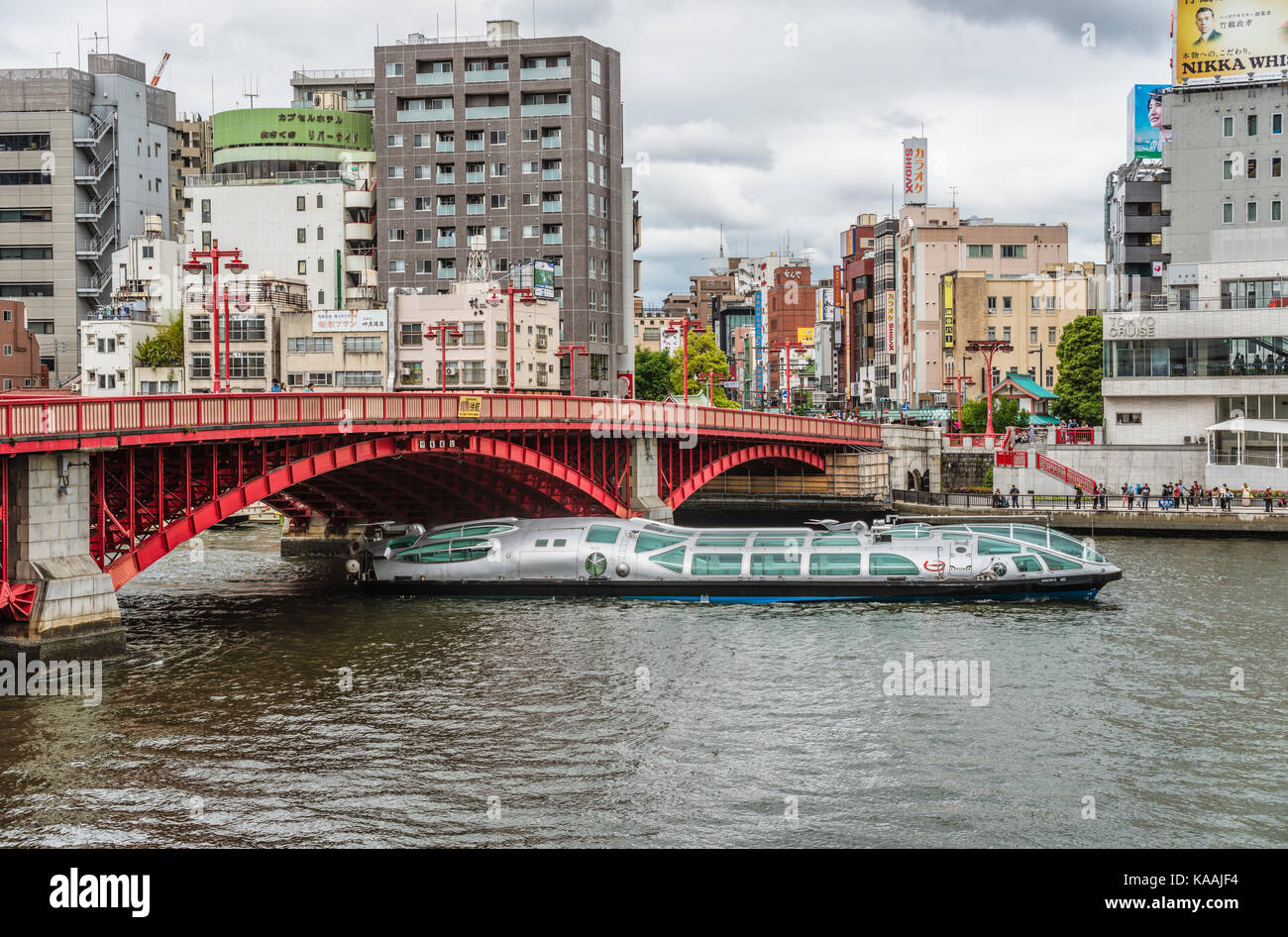 Sightseeing ship 'Himiko' of Tokyo Cruise Line at Sumida River at Asakusa in the Tokyo city center, Japan - Stock Image