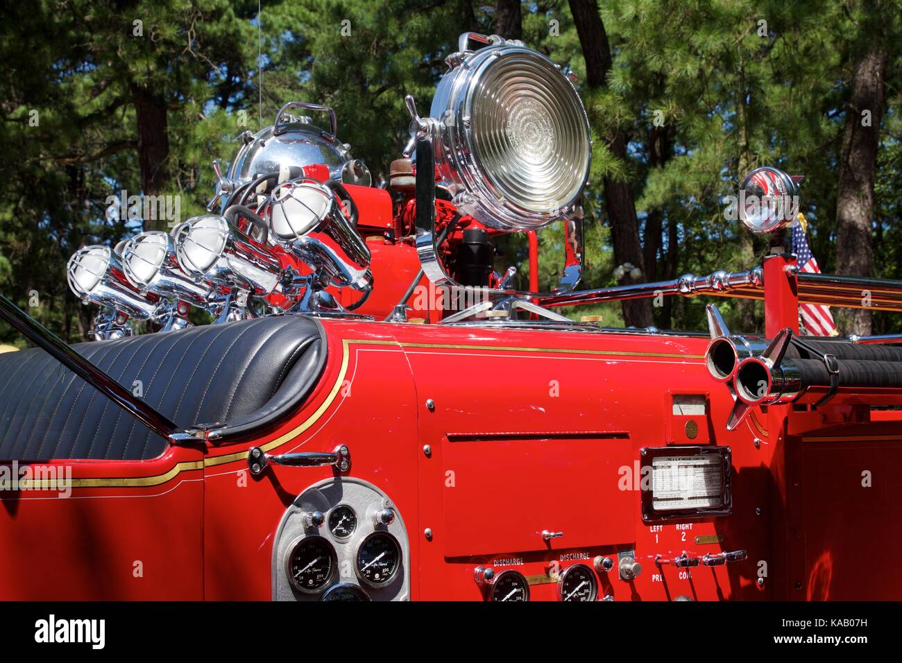 Retro search lights atop a 1948 Ward LaFrance fire engine at the 37th Annual Fire Apparatus Show and Muster at WheatonArts, - Stock Image