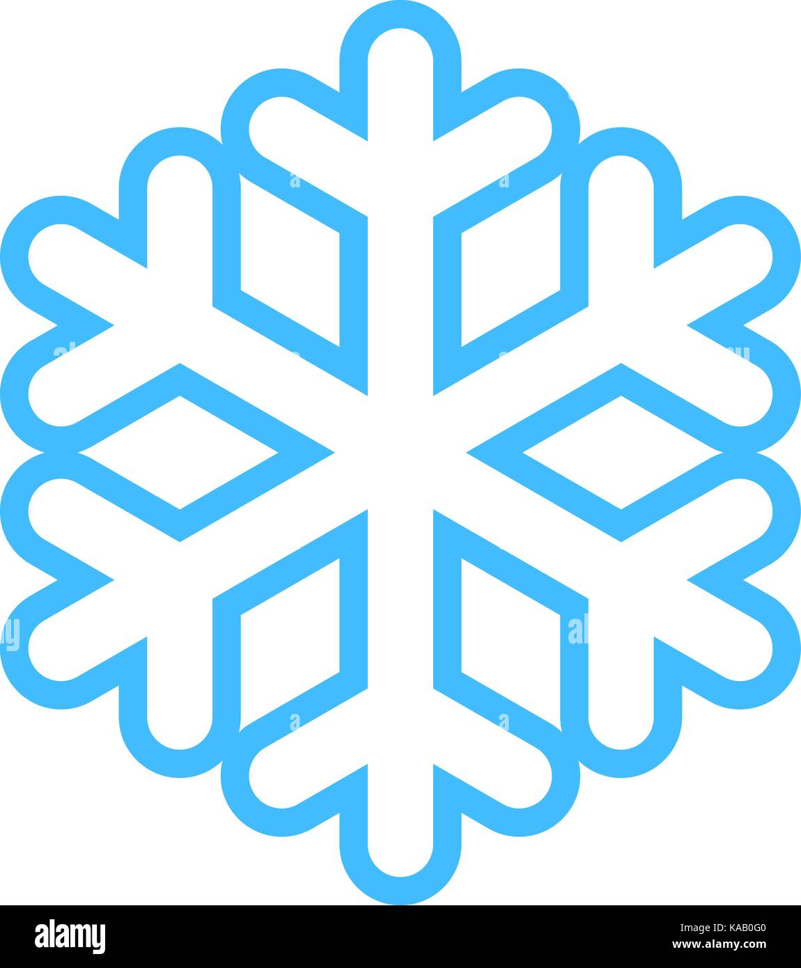 Flat snowflake low temperature sign. Quick and easy recolorable shape isolated from background. Vector illustration - Stock Vector