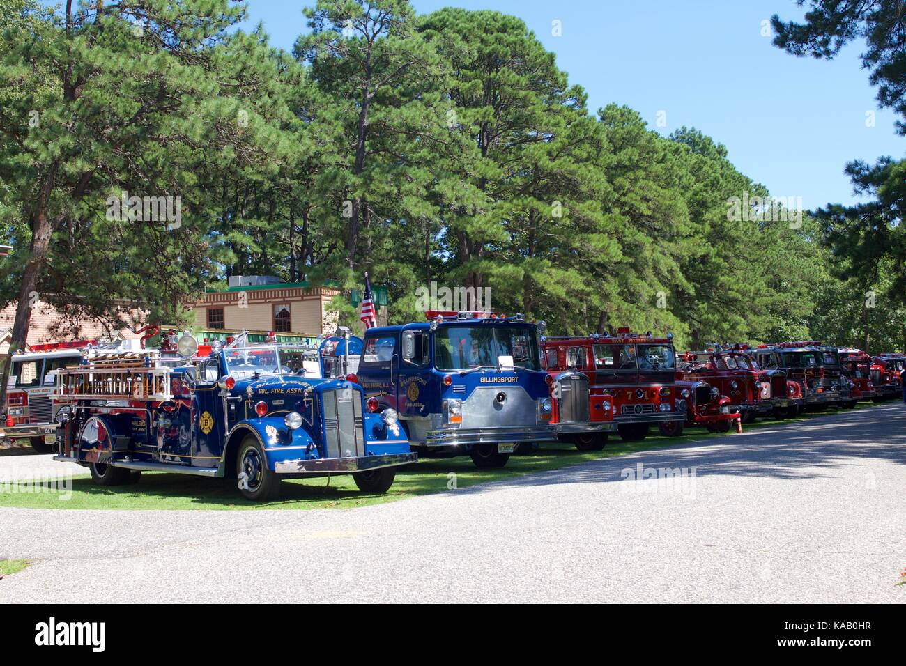 Vintage fire engines on display at the 37th Annual Fire Apparatus Show and Muster at WheatonArts, in Millville, Stock Photo