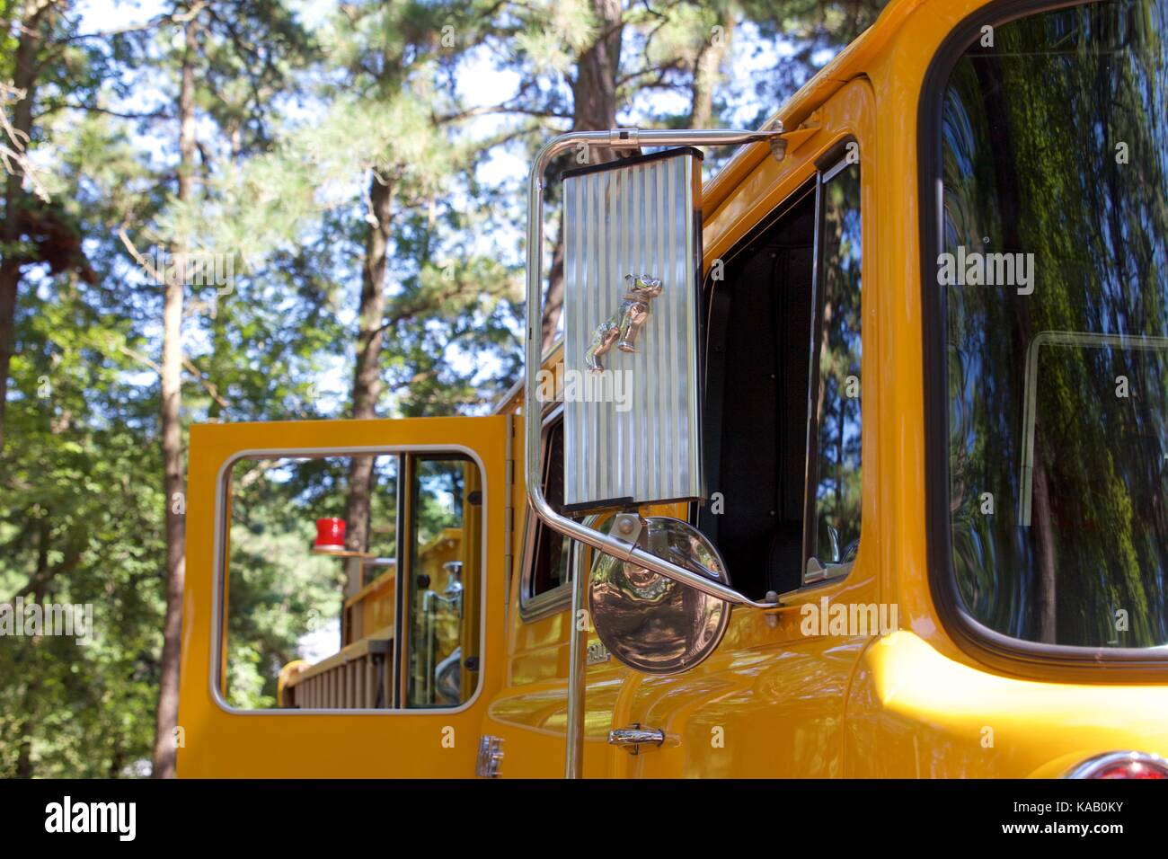 Detail from a yellow 1977 Mack/KME pumper at the 37th Annual Fire Apparatus Show and Muster at WheatonArts, in Millville, - Stock Image