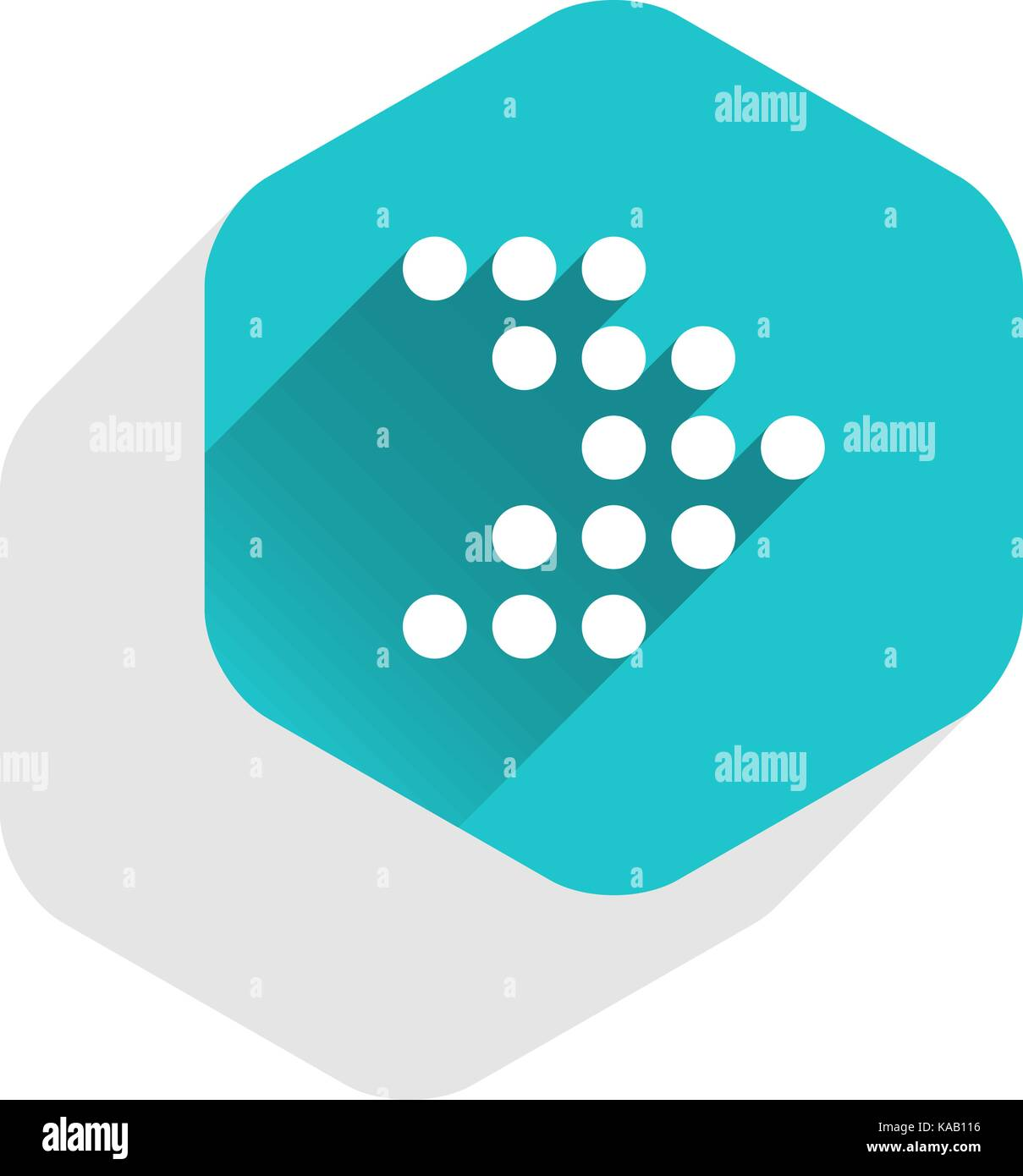 Arrow sign dotted icon LED digital display in hexagon web internet button in flat long shadow style. - Stock Image