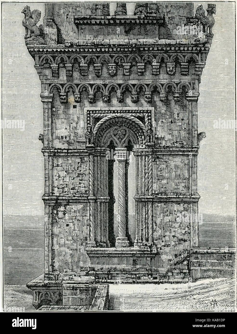 Soleto finestrone della torre xilografia di Mantellio - Stock Image