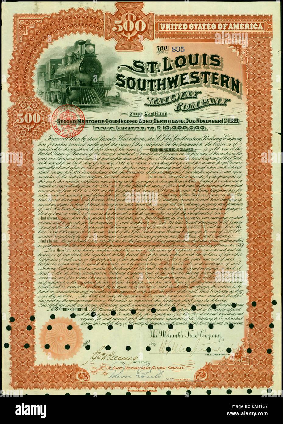 St. Louis Southwestern RW 1891 - Stock Image