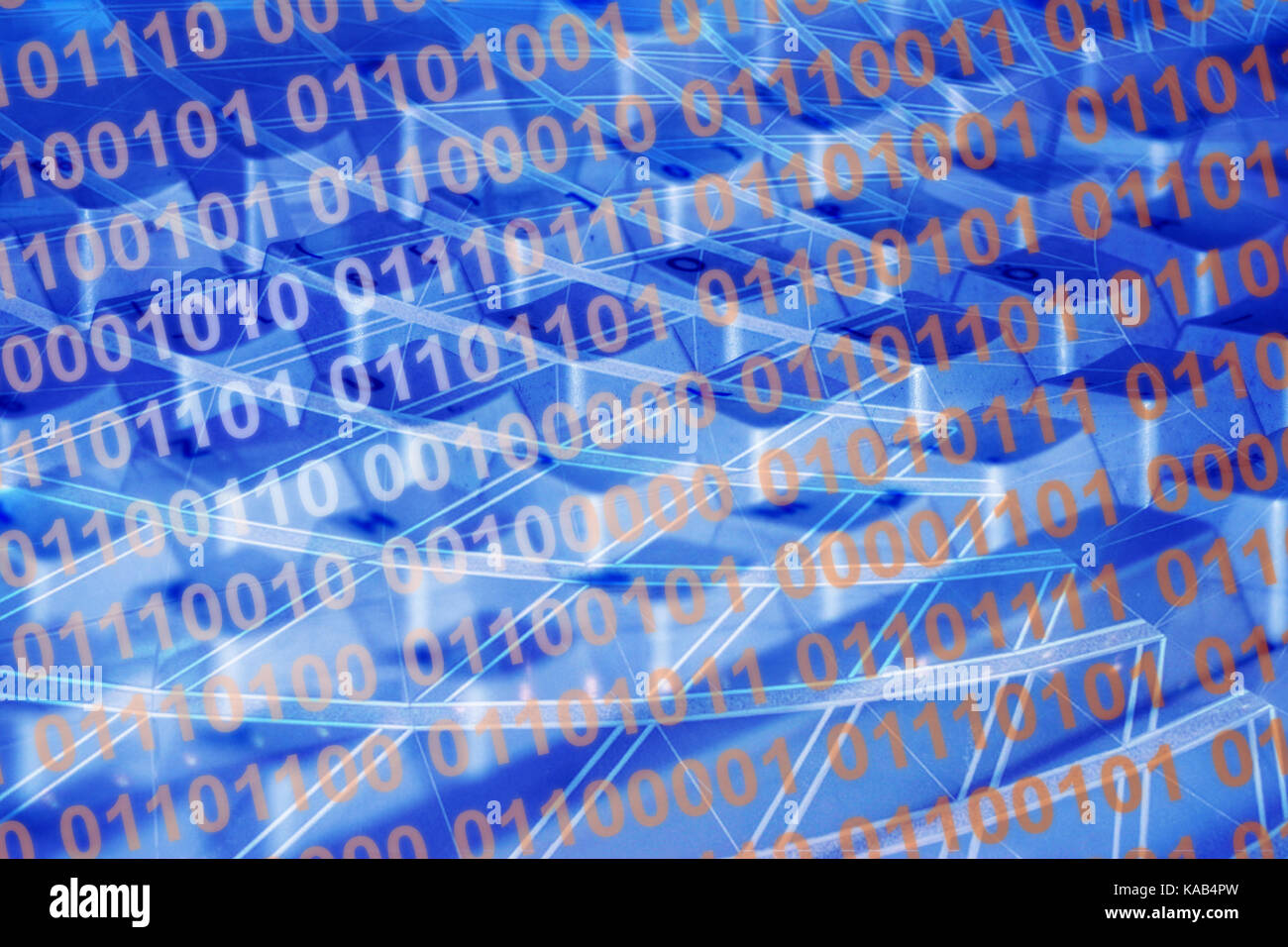 Background binary code in blue with keyboard and lines -- Hintergrund Binärcode in blau mit Tastatur und Linien - Stock Image