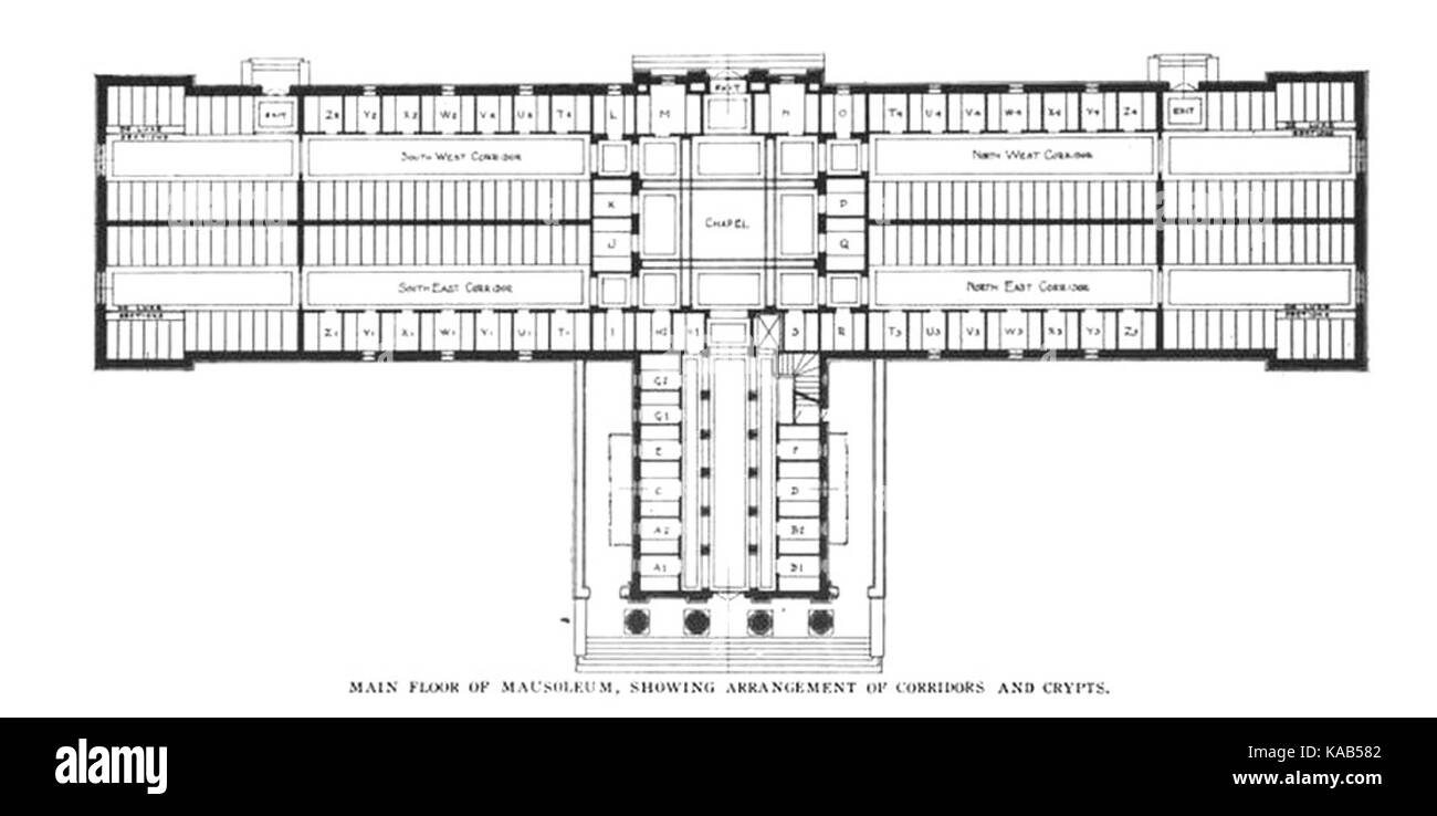 Rosehill Mausoleum   floor plan - Stock Image